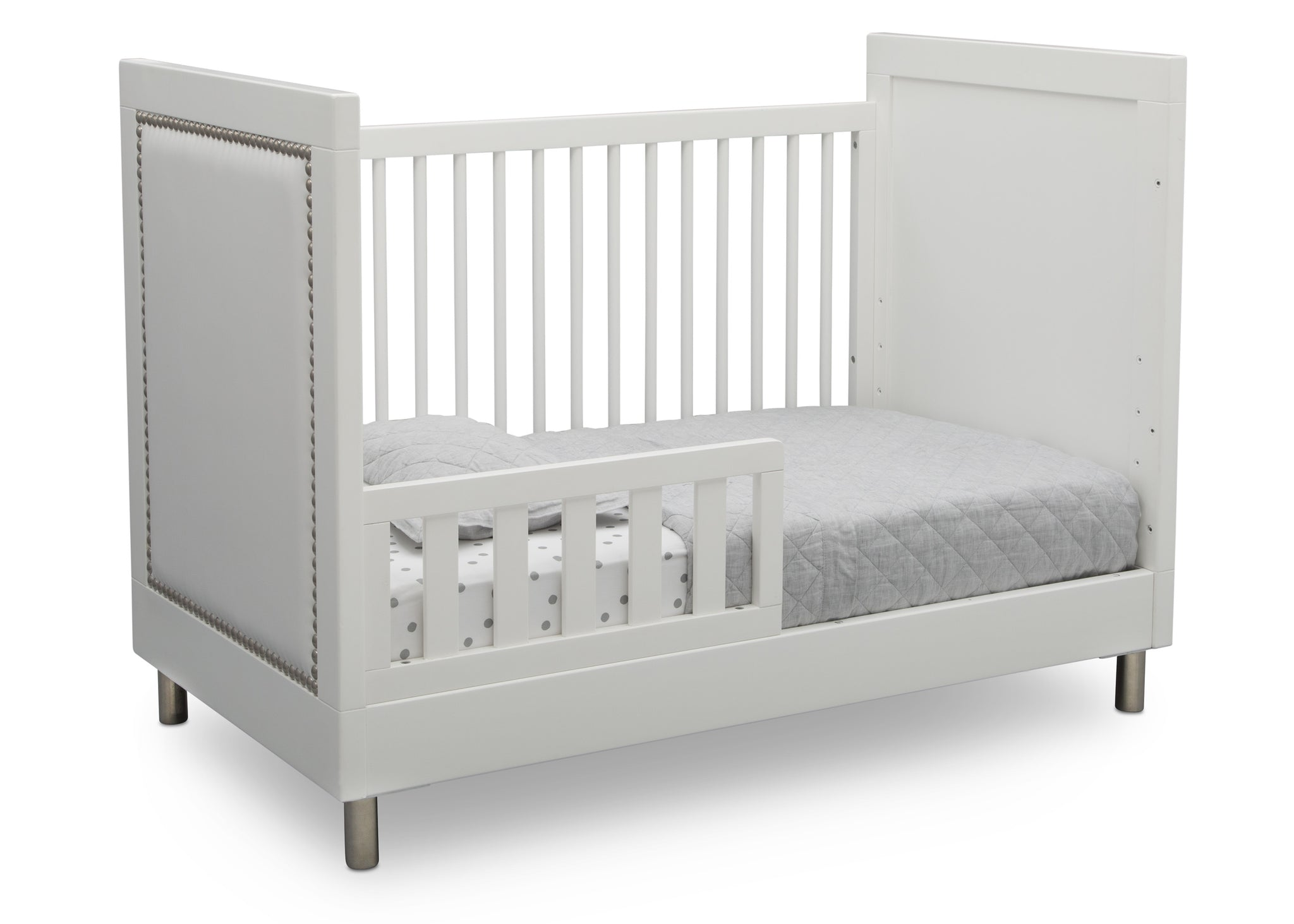 Simmons Kids Bianca White (1321) Avery 3-in-1 Convertible Crib, Right Toddler Bed Silo View