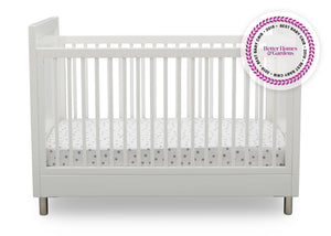 Simmons Kids Bianca White (1321) Avery 3-in-1 Convertible Crib, Front Crib Silo View