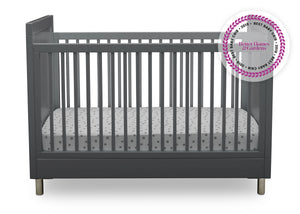 Simmons Kids Charcoal Grey (1323) Avery 3-in-1 Convertible Crib, Front Crib Silo View