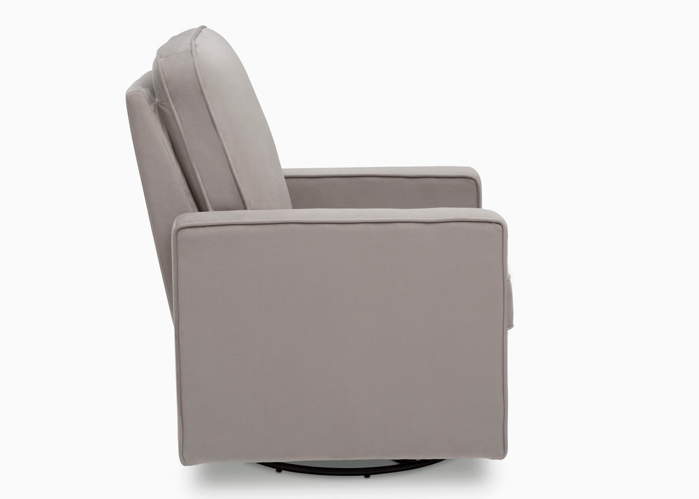 Delta Children Cloud Grey (1344) Landry Nursery Glider Swivel Rocker Chair, Side Silo b5b