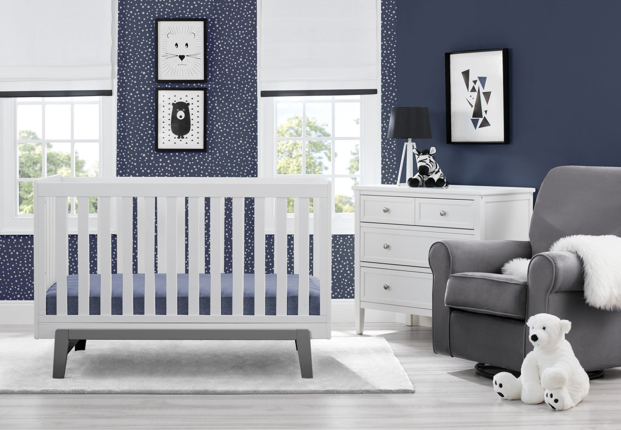 Aster 3 in 1 Crib Bianca White with Grey (166)