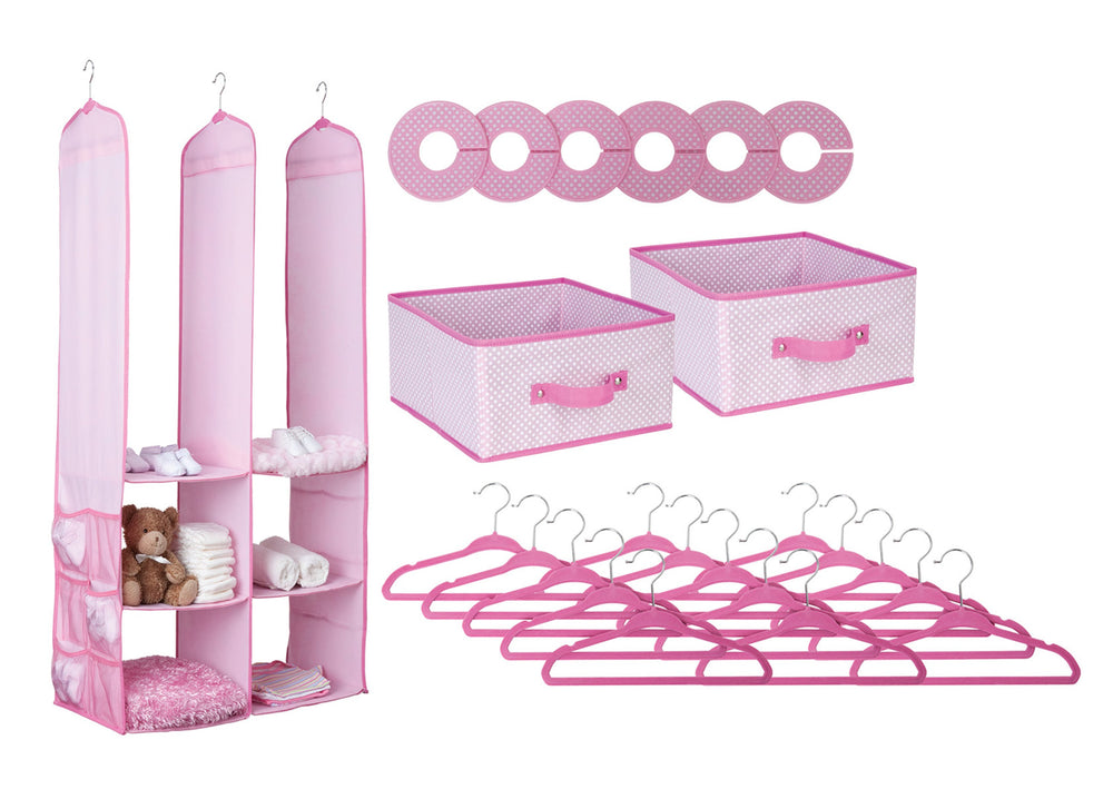 Delta Children Barely Pink (689) 24 Piece Nursery Storage Set, Silo, e2e
