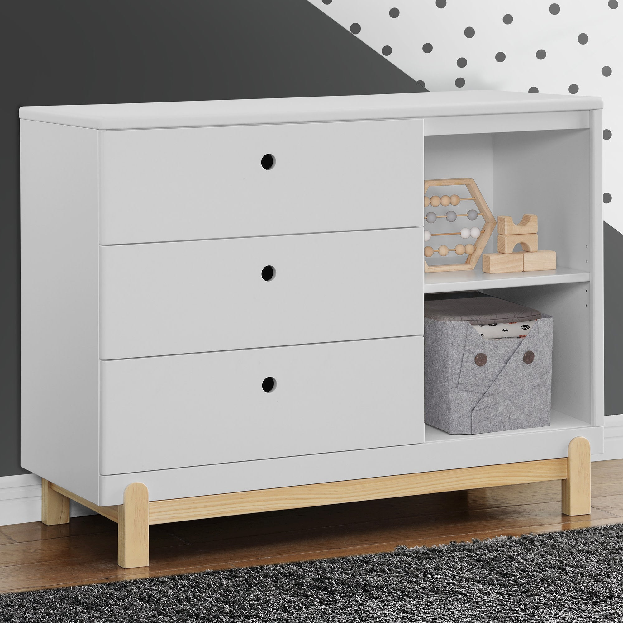 Poppy 3 Drawer Dresser with Cubbies