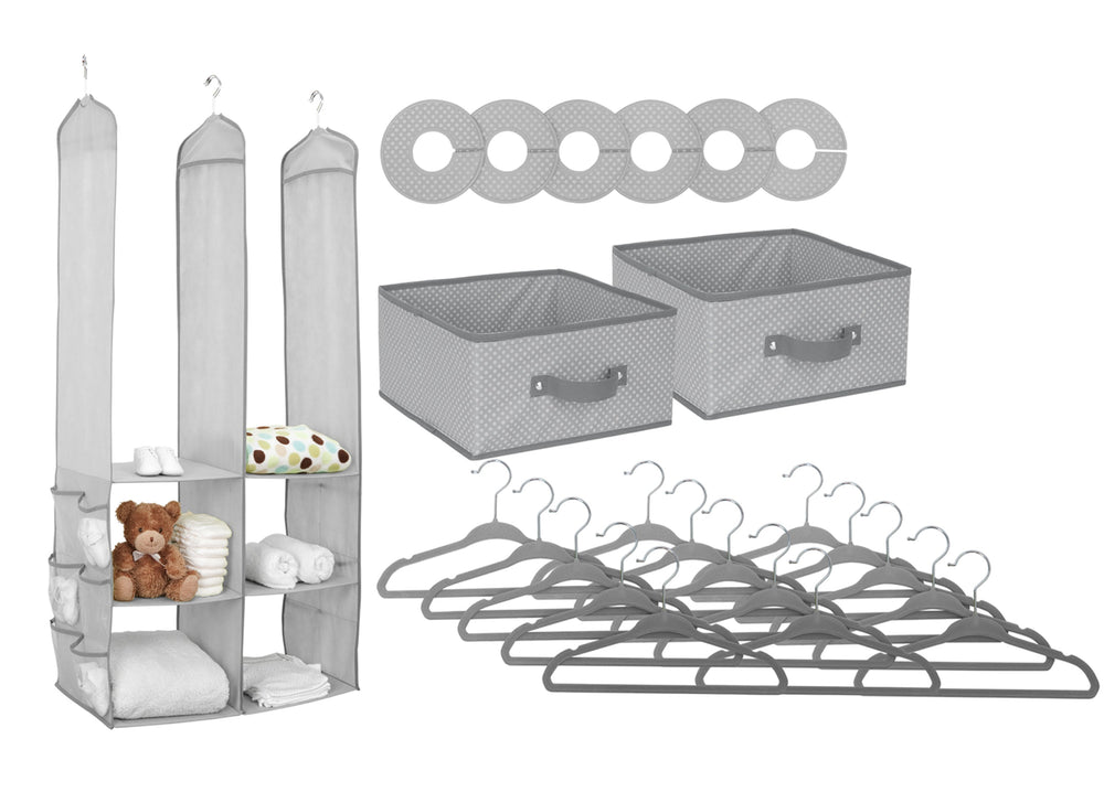 Delta Children Dove Grey (058) 48-Piece Nursery Storage Set (SS2056), Silo, a2a