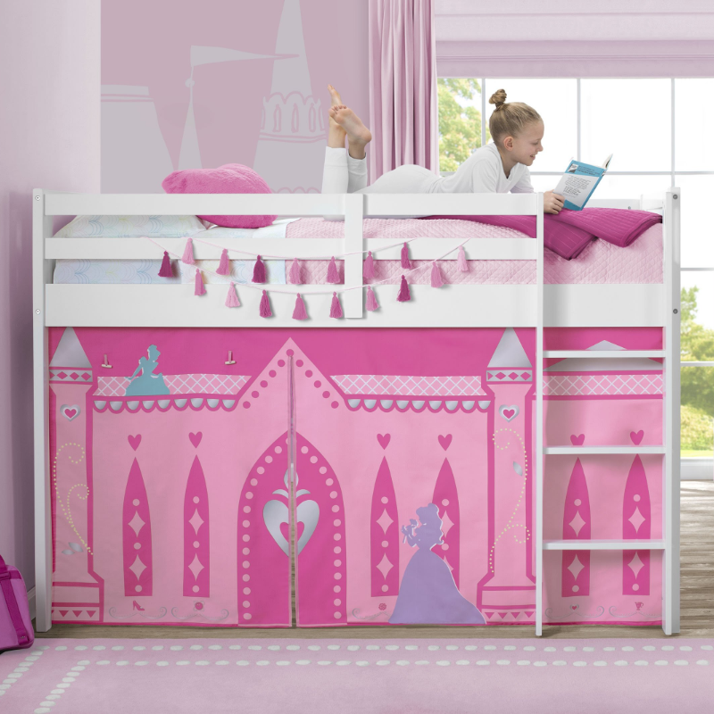 Princess Loft Bed Tent - Curtain Set for Twin Loft Bed (Bed Sold Separately)