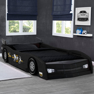 Delta Children Black (001) Grand Prix Race Car Toddler-to-Twin Bed, Hangtag View