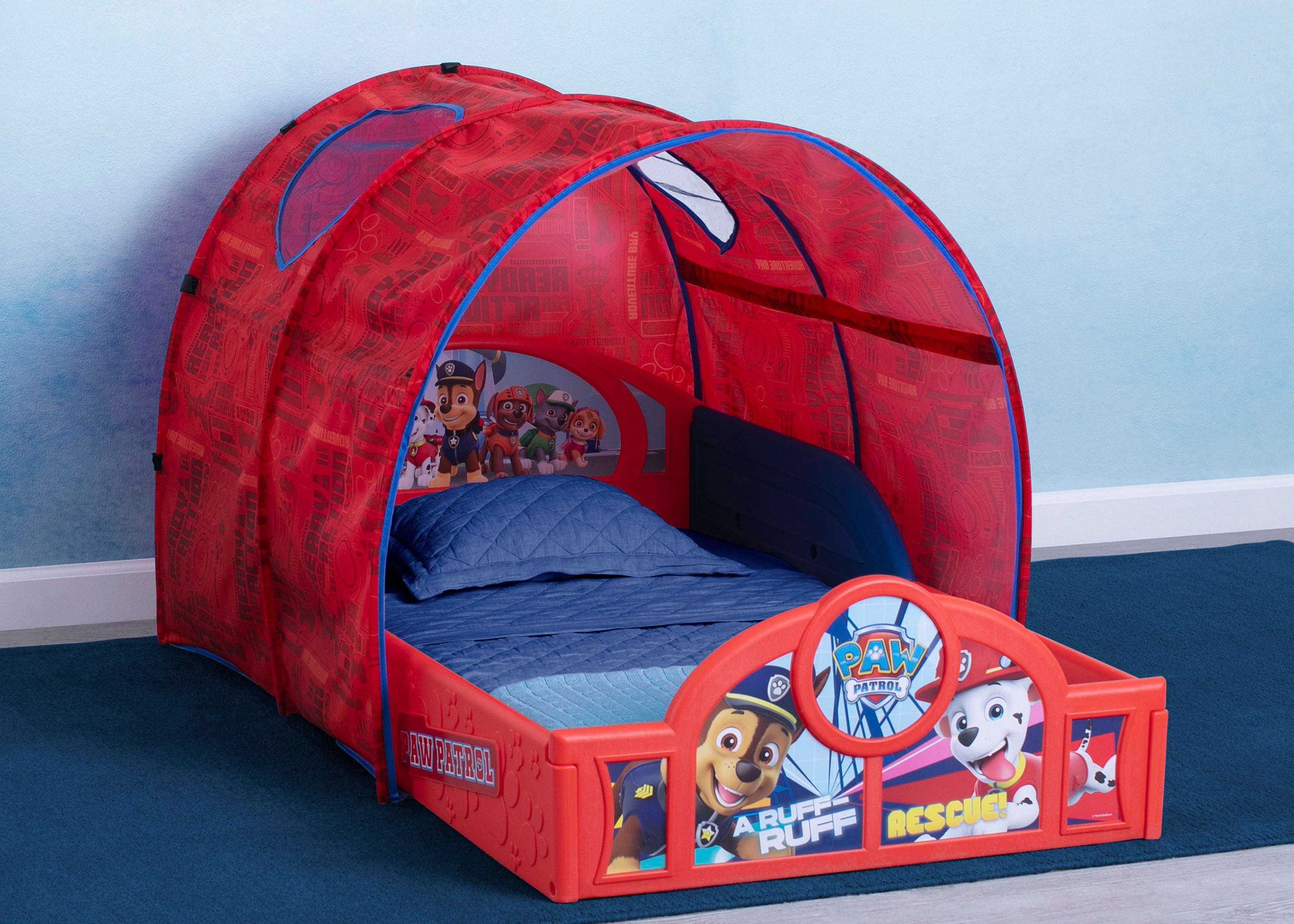 Image of: Paw Patrol Sleep And Play Toddler Bed With Tent Delta Children