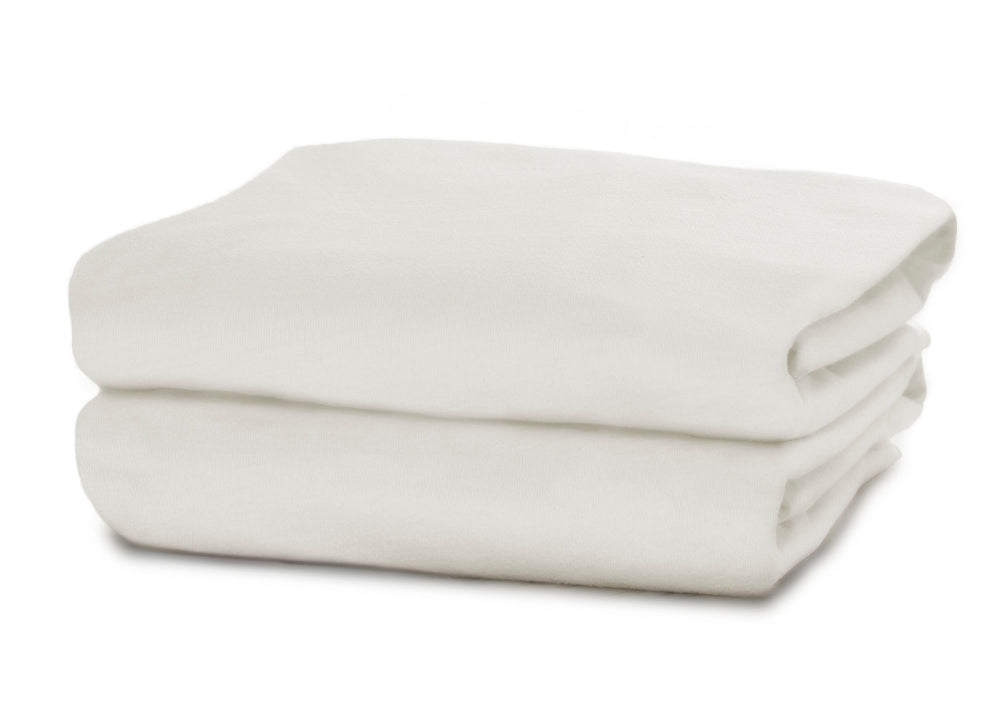 Delta Children Ivory (124) Fitted Bassinet Sheet Set – 2 Pack Folded View