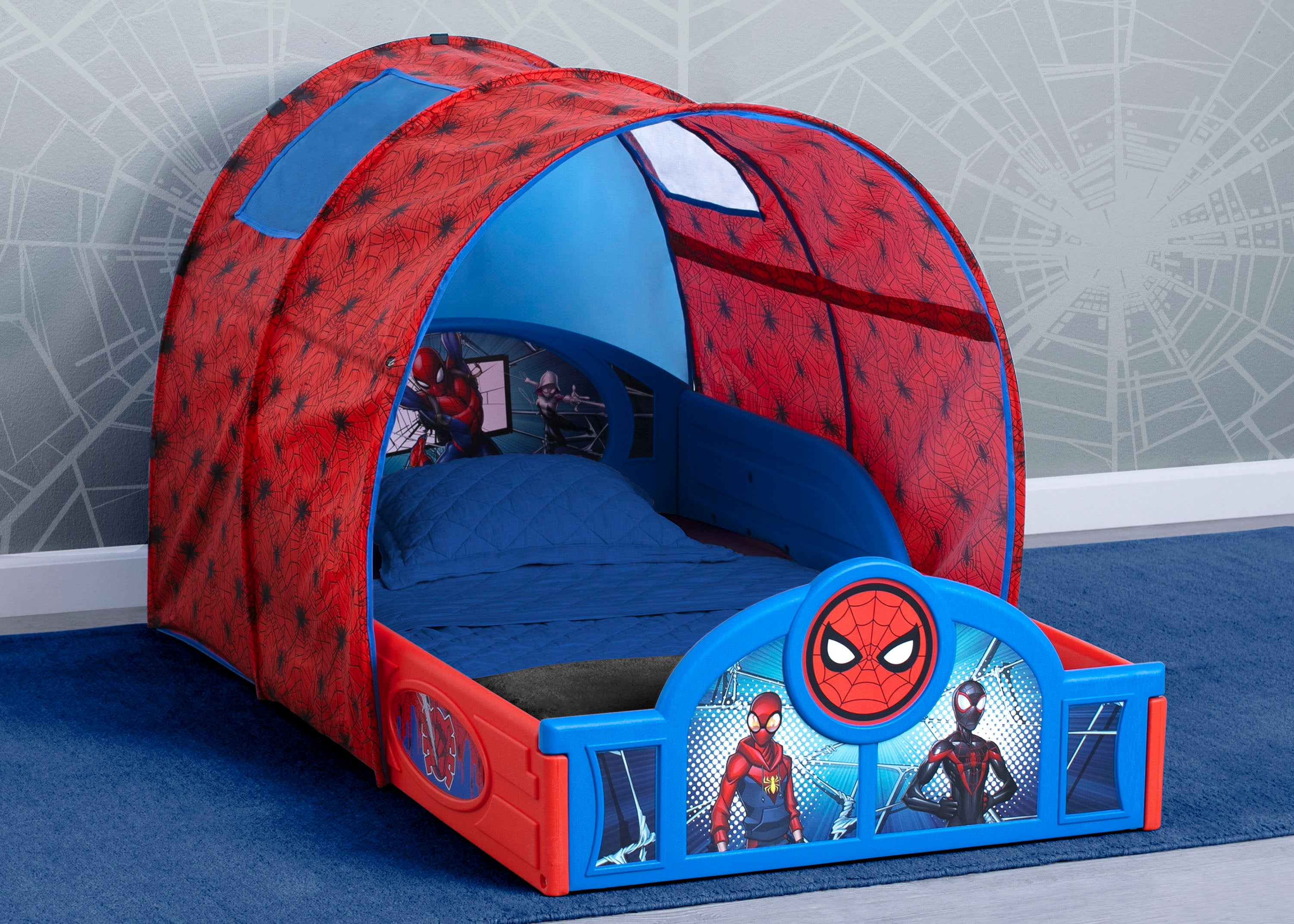 Image of: Spider Man Sleep And Play Toddler Bed With Tent Delta Children