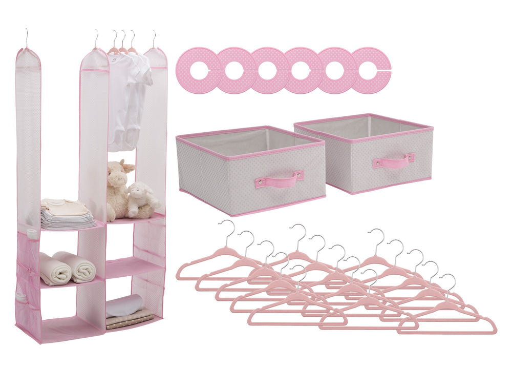 Delta Children Infinity Pink (693) 48-Piece Nursery Storage Set (SS2056), Silo, f2f