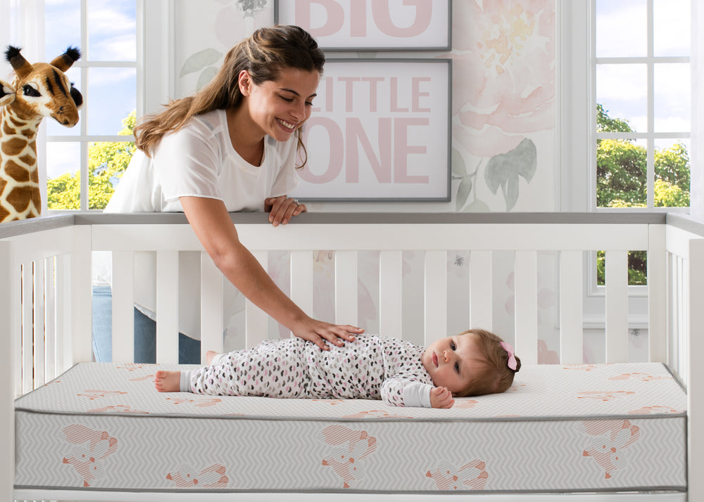 Delta Children Twinkle Stars Limited Fiber Core Crib and Toddler Mattress, Lifestyle View