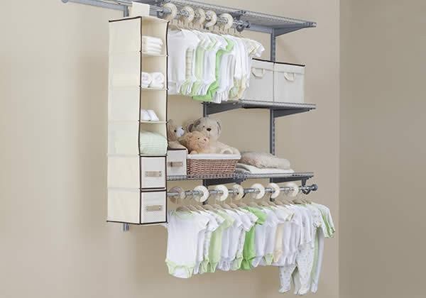 Delta Children Beige (250) 48 Piece Nursery Storage Set, Side View c1c