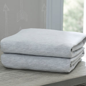 Delta Children Heather Grey (053) Fitted Crib Sheet Set – 2 Pack Mattress Hangtag View