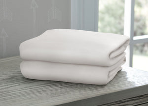 Delta Children Ivory (124) Fitted Crib Sheet Set – 2 Pack Mattress Hangtag View