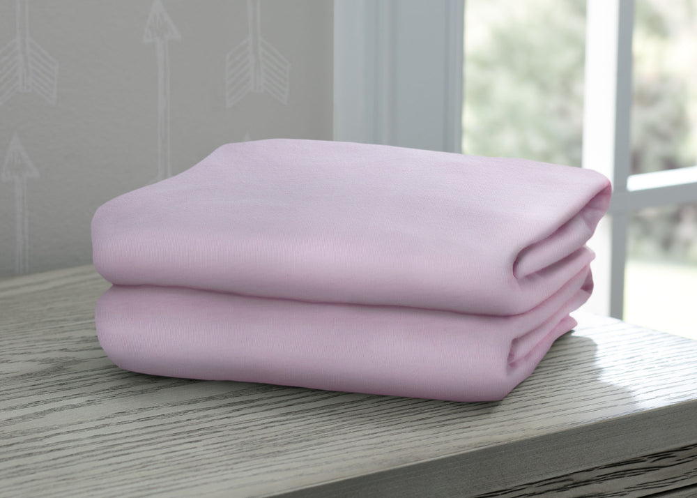 Delta Children Pink (654) Fitted Crib Sheet Set – 2 Pack Hangtag View