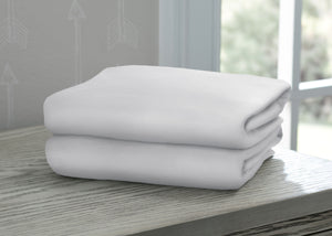 Delta Children White (100) Fitted Crib Sheet Set – 2 Pack Hangtag View