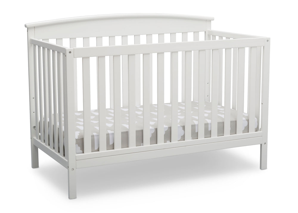 Delta Children Bianca White (130) Finley 4-in-1 Convertible Baby Crib Angled View a4a