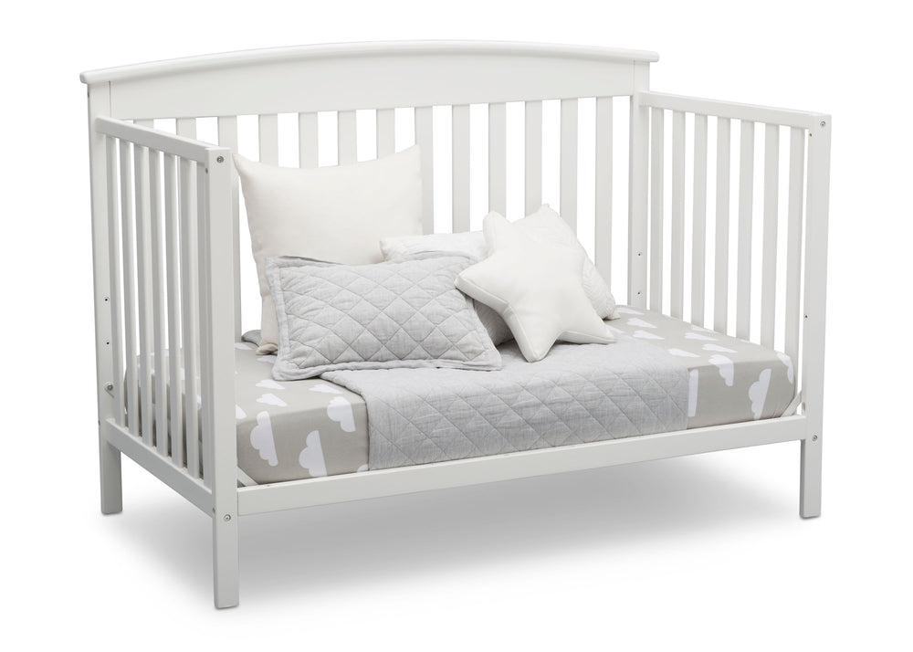 Delta Children Bianca White (130) Finley 4-in-1 Convertible Baby Crib Day Bed Angled View a6a
