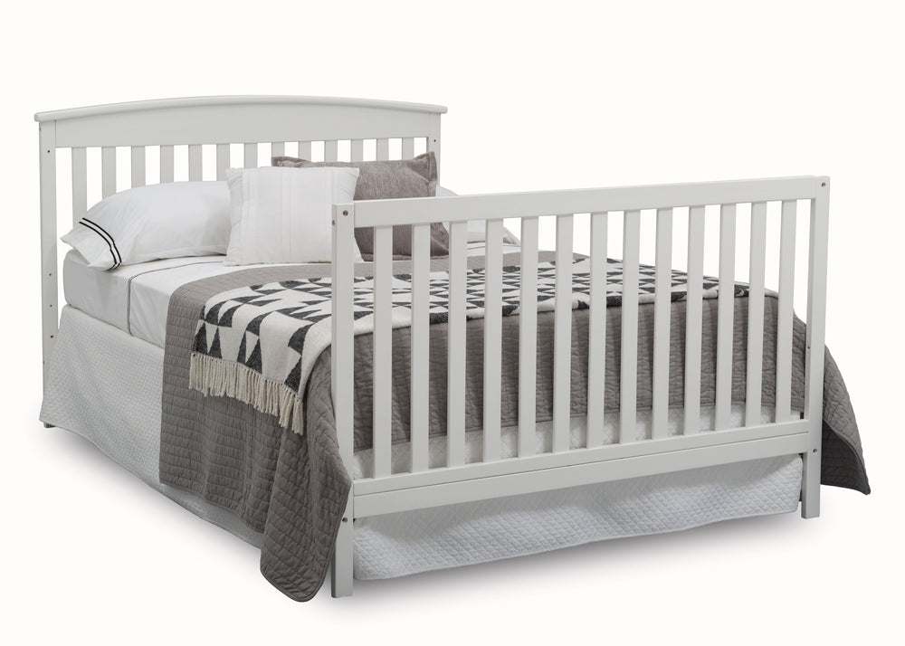 Delta Children Bianca White (130) Finley 4-in-1 Convertible Baby Crib Full Bed Angled View a7a