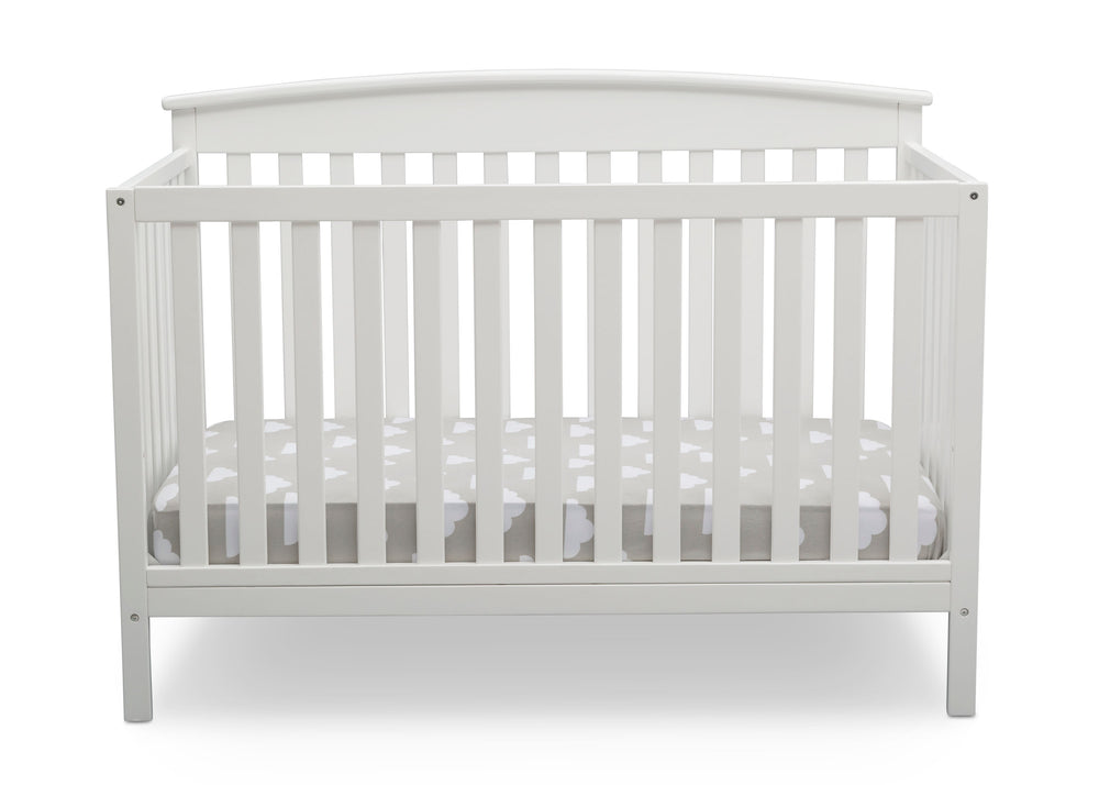 Delta Children Bianca White (130) Finley 4-in-1 Convertible Baby Crib Front View a3a