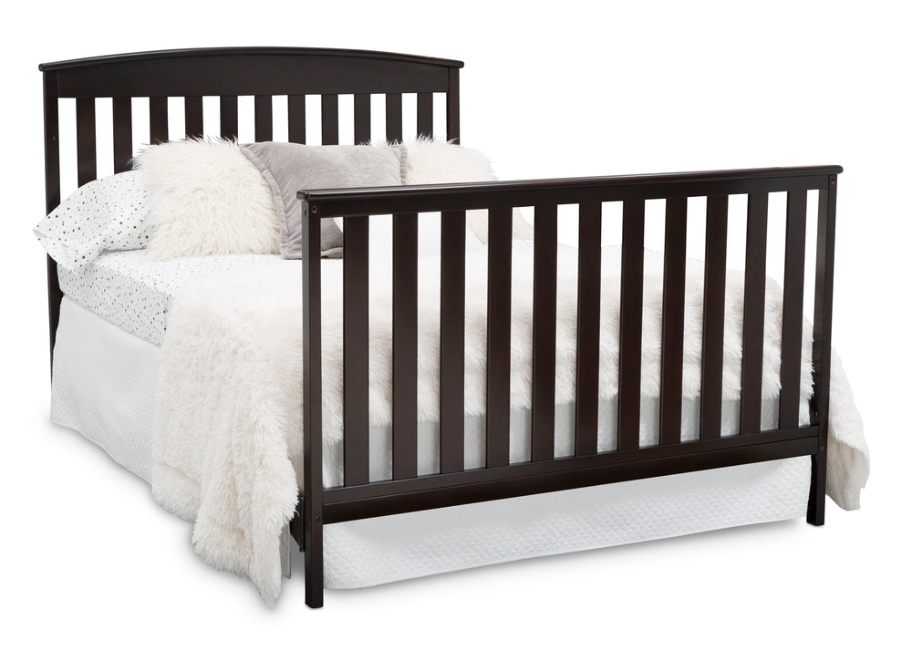 Delta Children Duke 4-in-1 Convertible Baby Crib with Under Drawer, Dark Chocolate Full Bed Right View a7a