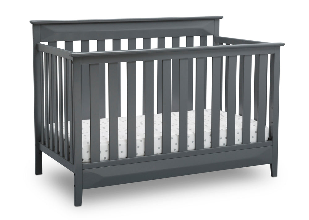 Delta Children Charcoal (029) Cameron 4-in-1 Convertible Baby Crib Angled View a4a