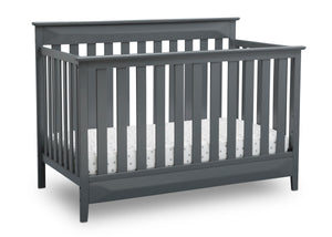 Delta Children Charcoal Grey (029) Cameron 4-in-1 Convertible Baby Crib Angled View a4a