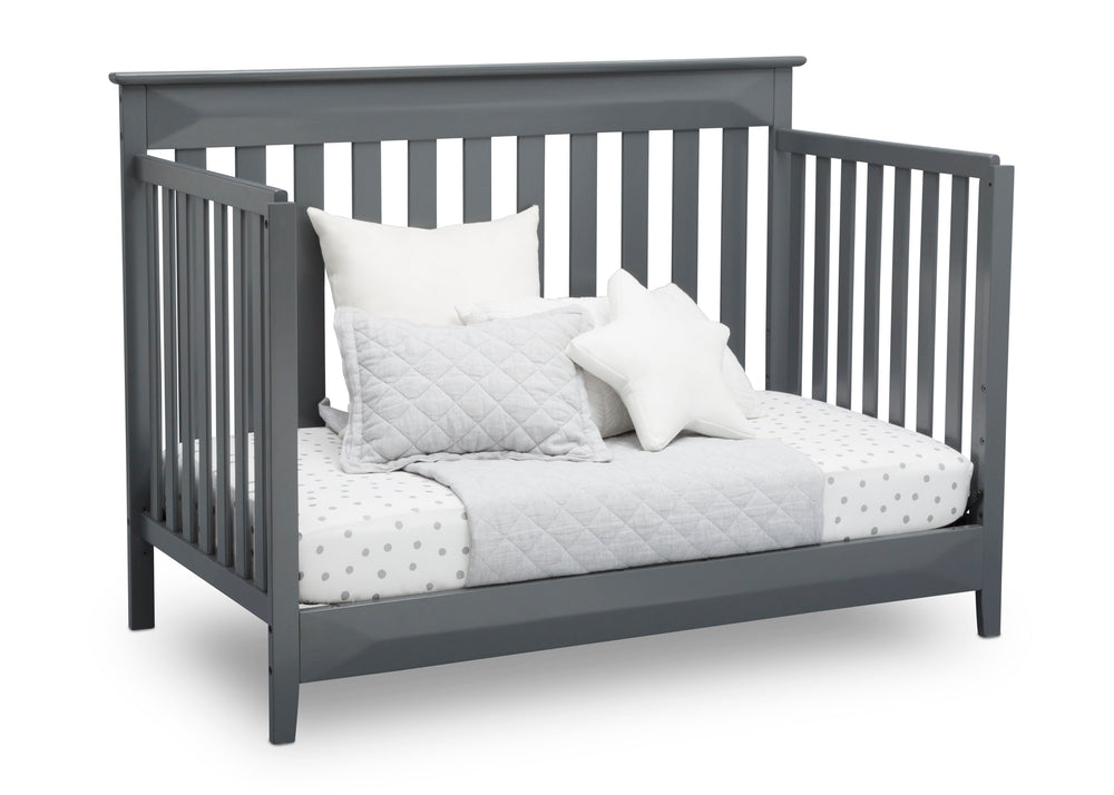 Delta Children Charcoal (029) Cameron 4-in-1 Convertible Baby Crib Day Bed Angled View a6a