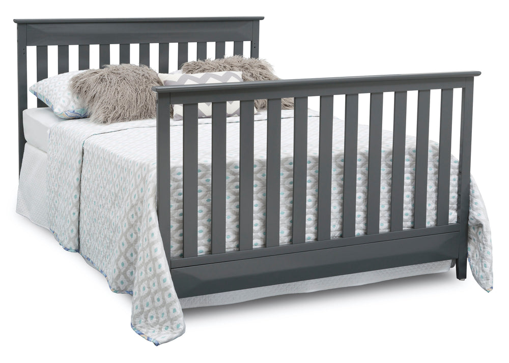 Delta Children Charcoal (029) Cameron 4-in-1 Convertible Baby Crib Full Bed Angled View a7a