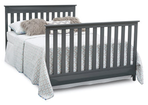 Delta Children Charcoal Grey (029) Cameron 4-in-1 Convertible Baby Crib Full Bed Angled View a7a
