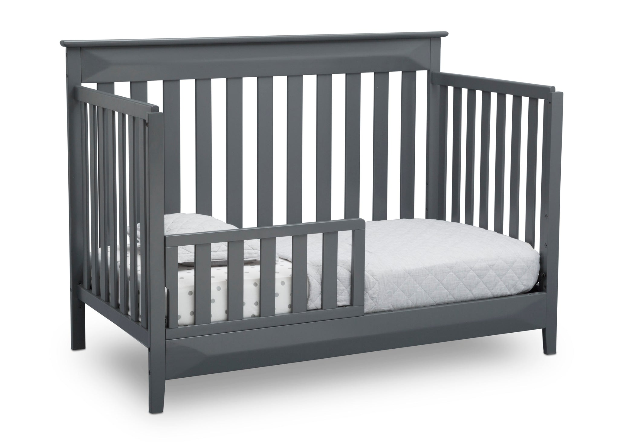 Delta Children Charcoal Grey (029) Cameron 4-in-1 Convertible Baby Crib Toddler Bed Angled View a5a