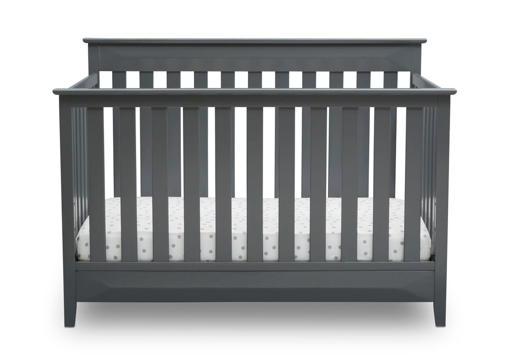 Delta Children Charcoal (029) Cameron 4-in-1 Convertible Baby Crib Front View a3a