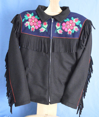 Men's Black Embroidered Fringed Duffel Satin Lined Jacket