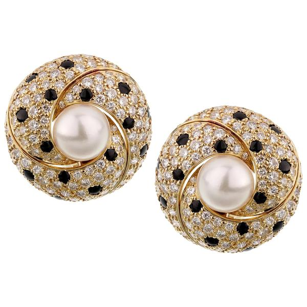Cartier Panthere Diamond Pearl Yellow Gold Vintage Clip On Earrings