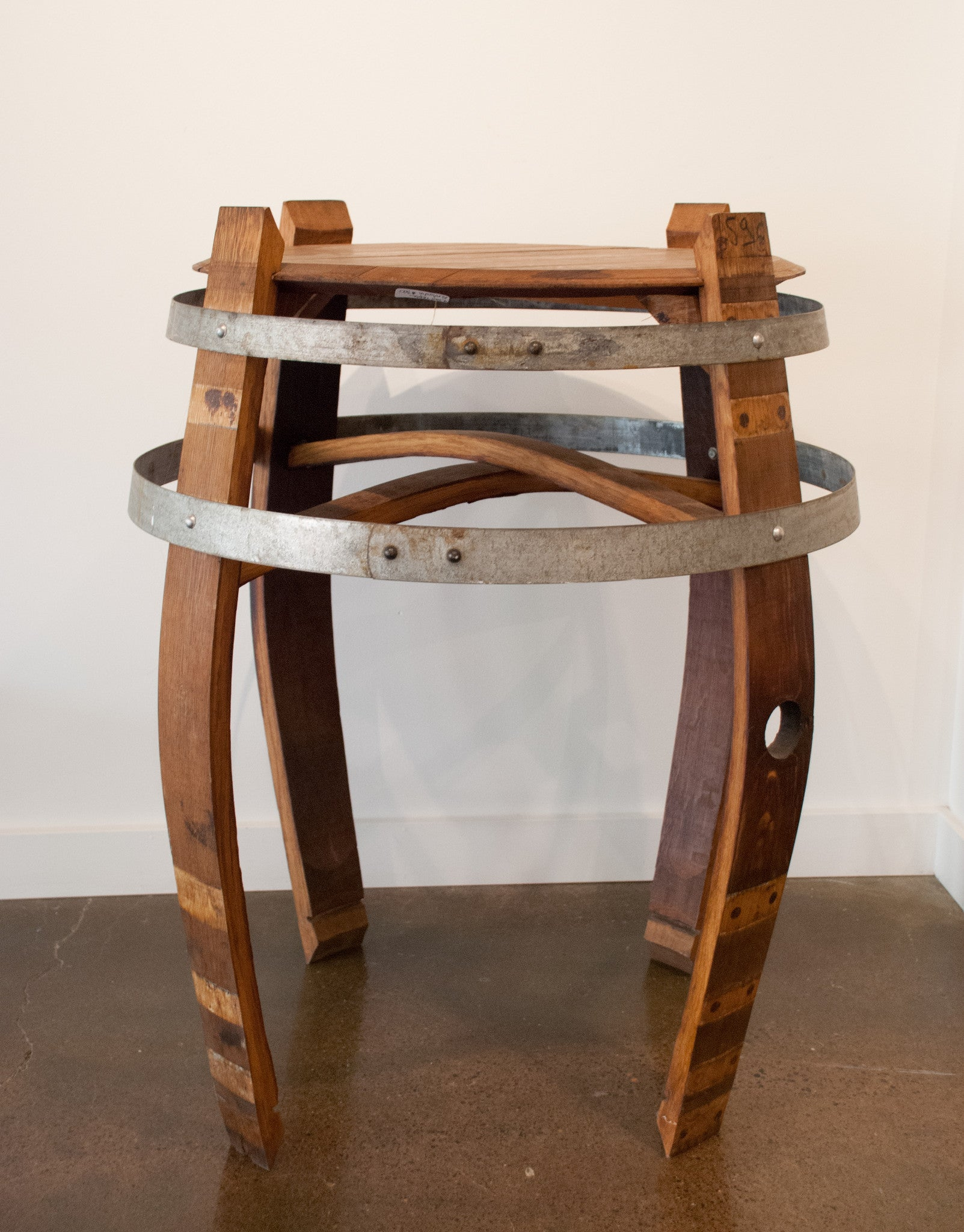 Wine barrell furniture Coffee Table Wine Enthusiast Ken Austin Tall Wine Barrel Table Art Elements Gallery
