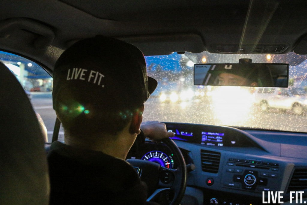 Our Live Fit photographer, Miguel, drives cautiously as the first sign of rain patters on his windshield.