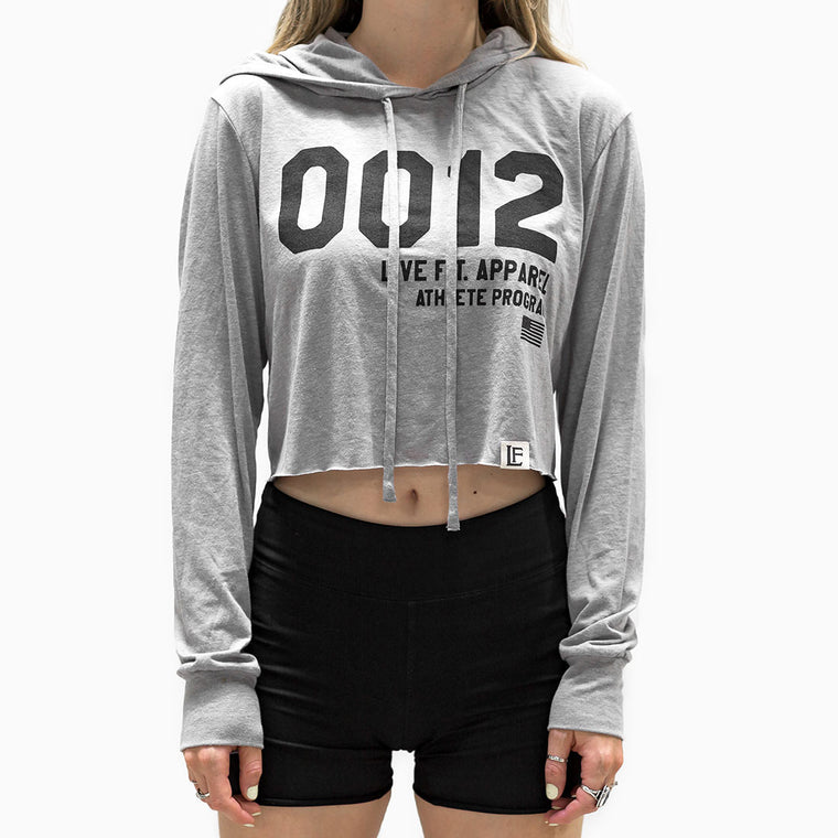 0012 Lite Pullover Crop Hoodie - Athletic Heather / Black
