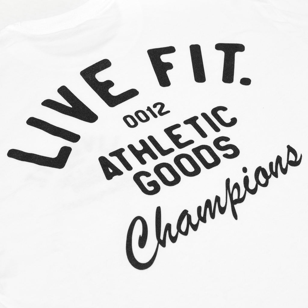 Live Fit Apparel Athletic Goods Tee - White - LVFT