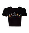 Live Fit Apparel Arch Aloha Crop Tee - Black - LVFT