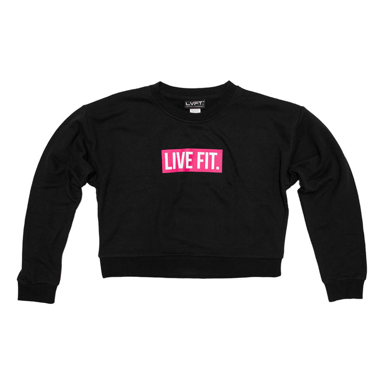 Block Crop Crewneck- Black/Pink