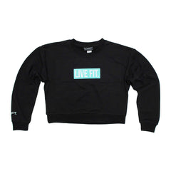 Block Crop Crewneck- Black/Teal