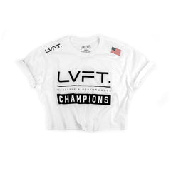 Live Fit Apparel Champion Crop Tee - White - LVFT