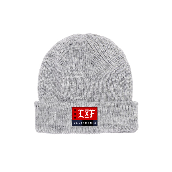 LXF Ribbed Cuffed Beanie- Heather Grey