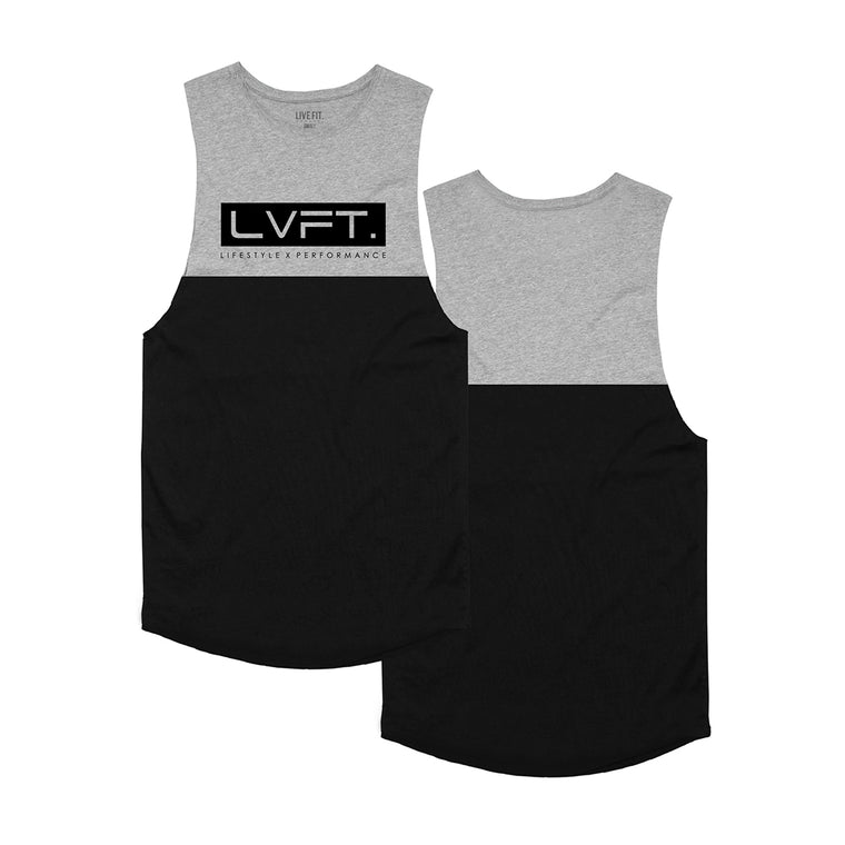 Divided Tank - Black / Heather Grey