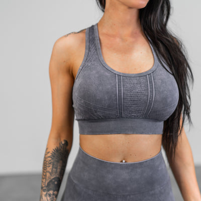 Vintage Wash Sports Bra-  Grey