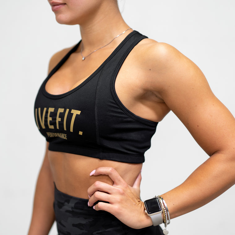 Live Fit Apparel Gold Edition Sports Bra - Black - LVFT
