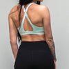 Cross Back Solid Sports Bra - Mint