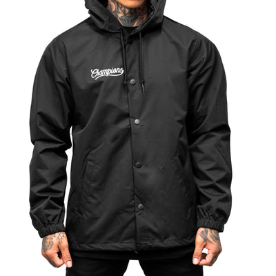 Champions Hooded Coach Jacket - Black