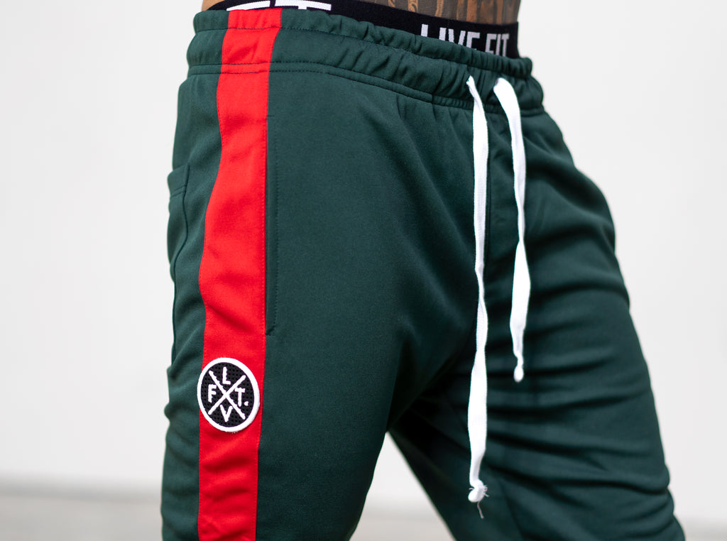 LVFT. Slim Trackies - Green/Red