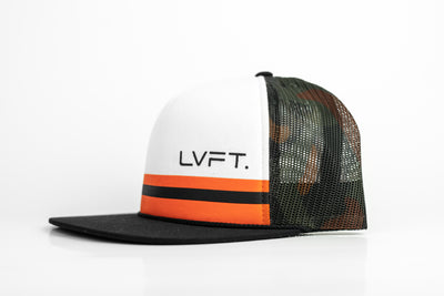 Striped Trucker Hat - White / Orange